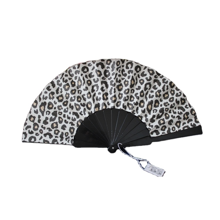 Plastic paper hand fan in black and white color